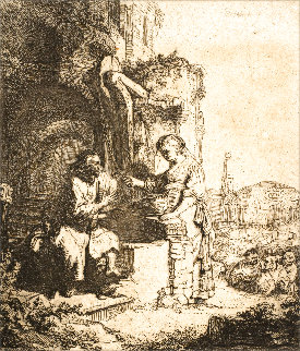 Christ and the Woman of Samaria: Among Ruins 1634 Limited Edition Print -  Rembrandt