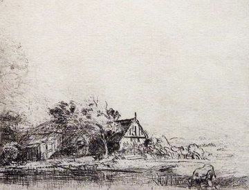 Landscape With a Cow Drinking  Limited Edition Print -  Rembrandt Millennium Edition