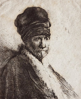 Bust of a Man Wearing a High Cap  Limited Edition Print by  Rembrandt Millennium Edition