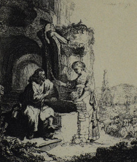 Christ and the Woman of Samaria Among Ruins Limited Edition Print by  Rembrandt Millennium Edition