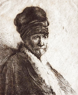 Bust of a Man Wearing a High Cap Limited Edition Print -  Rembrandt Millennium Edition