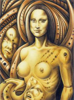 Mona Lisa of the Silicon Breasts 2010 16x12 Original Painting -  Remo