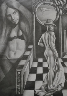 Girl Gazing Upon Her Nude Tango Partner 2010 Drawing -  Remo