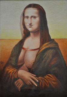 Mona Lisa of the Revealing Breasts Pastel 2009 11x8 Drawing by  Remo