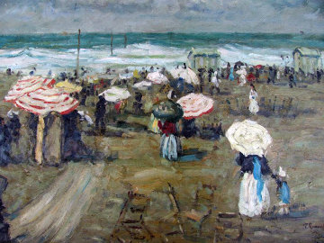 Strand Gezicht Normandy 1939 19x23 Original Painting - Paul Renard