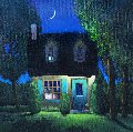 Nightfall in Happytown 2009 30x30 Original Painting - Rene Lalonde