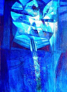 Solos Azules 2004 76x56 Huge Original Painting - Raul Enmanuel