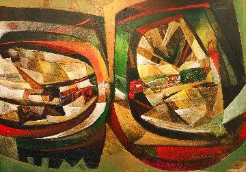 La Locomotora De Mi Papa 2006 55x75 Huge Original Painting - Raul Enmanuel