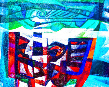 El Cotunto 2007 40x50  Huge Original Painting - Raul Enmanuel