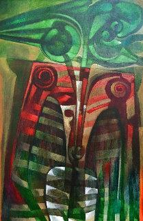 Formas En Verde Y Rojo 2005 64x44 Huge  Original Painting - Raul Enmanuel
