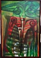 Formas En Verde Y Rojo 2005 64x44 Huge  Original Painting by Raul Enmanuel  - 1
