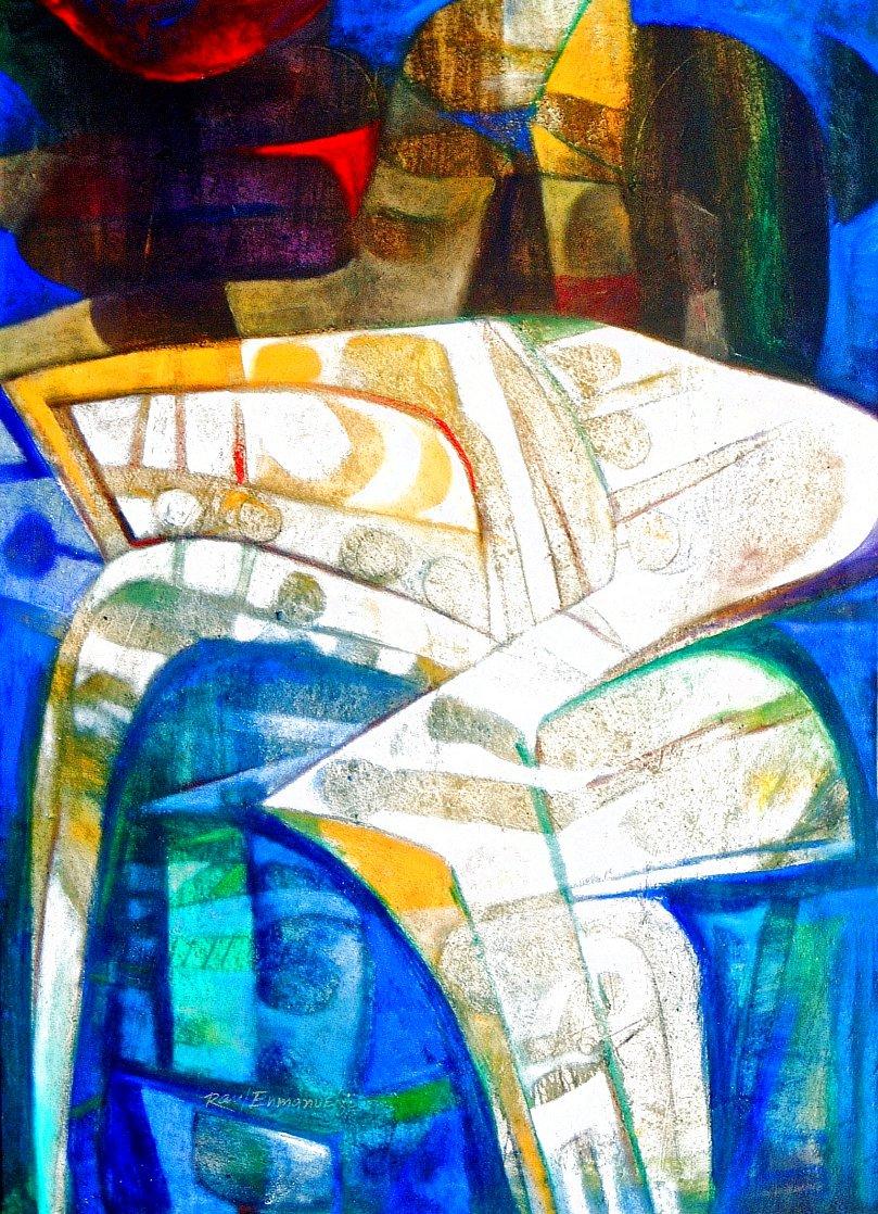 Formas En Amarillo Y Azul 2005 70x50 Huge Original Painting by Raul Enmanuel