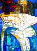 Formas En Amarillo Y Azul 2005 70x50 Huge Original Painting by Raul Enmanuel  - 0