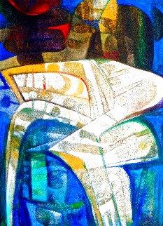 Formas En Amarillo Y Azul 2005 70x50 Huge Original Painting - Raul Enmanuel
