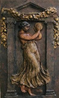 Woman With Tambourine III Bronze Sculpture 1988 36x24 Sculpture by Pierre Auguste Renoir