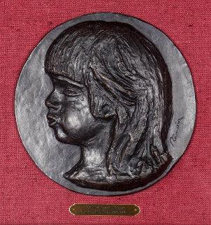 Medallion De Coco 1906, Casting 1989 Relief Bronze Sculpture 8 in Sculpture - Pierre Auguste Renoir