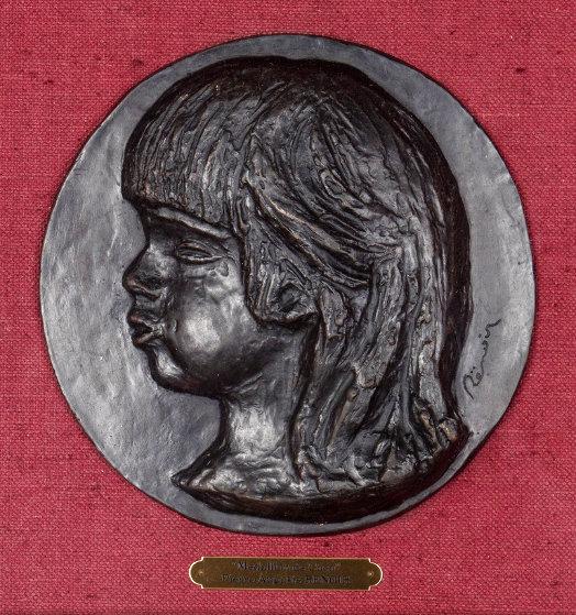 Medallion De Coco 1906, Casting 1989 Relief Bronze Sculpture 8 in Sculpture by Pierre Auguste Renoir