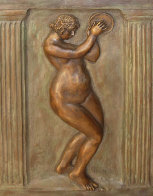 Dancer With Tambourine II Bronze Bas Relief Sculpture 26 in Sculpture by Pierre Auguste Renoir - 0