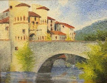 Castle With Bridge 33x39 Original Painting by Alexandre Renoir