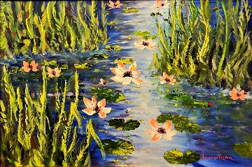 Waterlilies At Giverny 2013 46x66 Original Painting by Alexandre Renoir