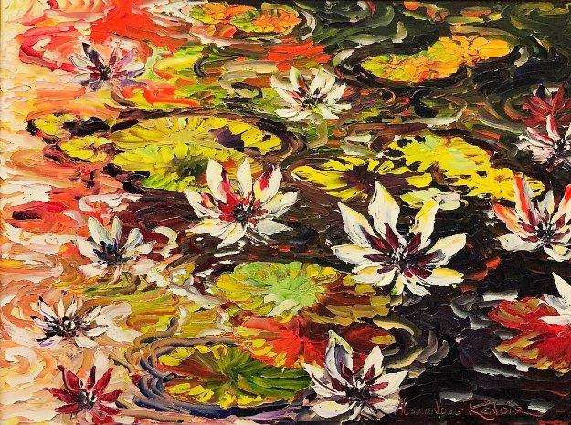 Waterlilies 2010 39x49 Original Painting by Alexandre Renoir