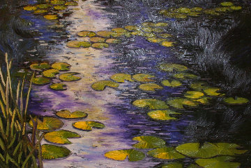Lilly Pads 2007 46x66 Super Huge Original Painting - Alexandre Renoir