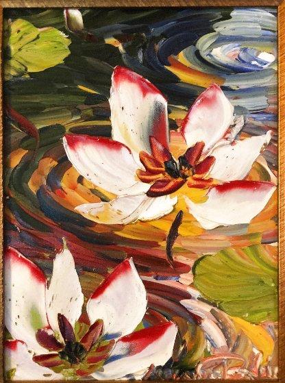 Lotus 2010 18x15 Original Painting by Alexandre Renoir