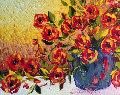 Orange And Red Tulips in Blue Vase 2010 42x36 Original Painting - Alexandre Renoir
