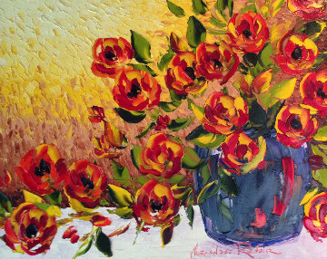 Orange And Red Tulips in Blue Vase 2010 42x36 Original Painting by Alexandre Renoir