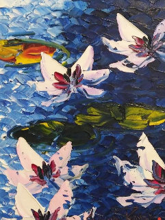 Five Lillies 2017 23x19 Original Painting by Alexandre Renoir