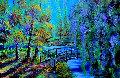 Bridge in Spring Landscape 2010 44x64 Original Painting - Alexandre Renoir