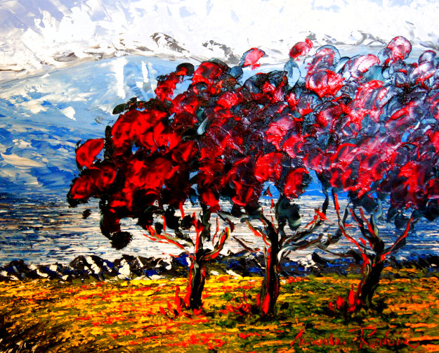 Red Trees 2012 24x30 Original Painting by Alexandre Renoir