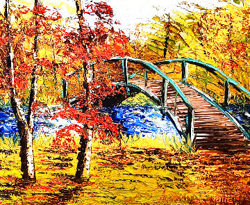 Japanese Bridge I 2016 38x34 Original Painting - Alexandre Renoir