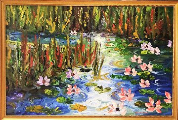Waterlilies At Giverny 2009 63x43 Original Painting - Alexandre Renoir