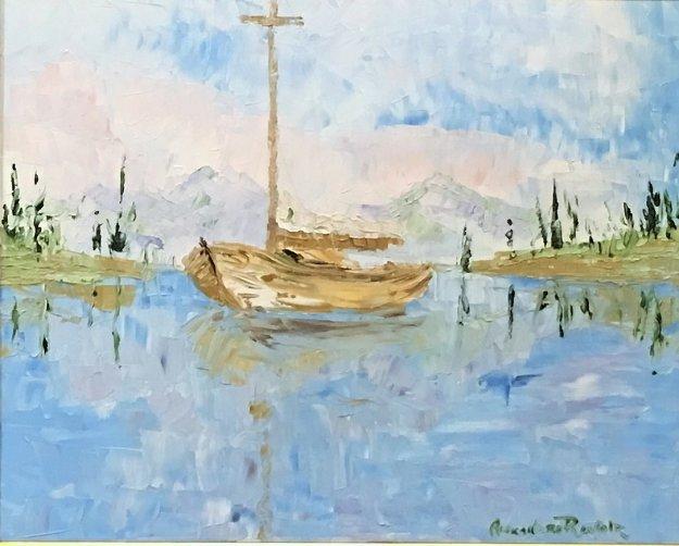 Bateau Au Voile 2010 29x29 Original Painting by Alexandre Renoir