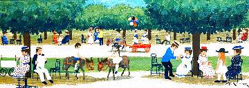 """""""Le Jardin D'enfants"""" a Paris 12x21 Original Painting - Andre Renoux"""