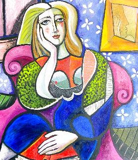 Woman in Chair With Voyeur 2010 49x45 Huge Original Painting - Erik Renssen
