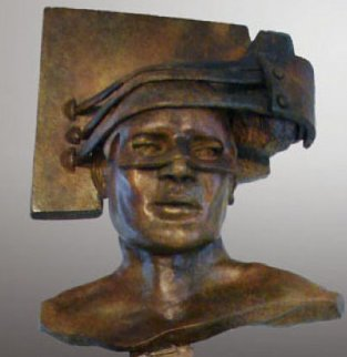A Guarded Thought Bronze Sculpture 2011 36 in Sculpture - Larry Renzo Lewis
