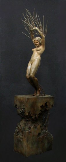 Branching Out Life Size Bronze Sculpture 2016 Sculpture by Larry Renzo Lewis