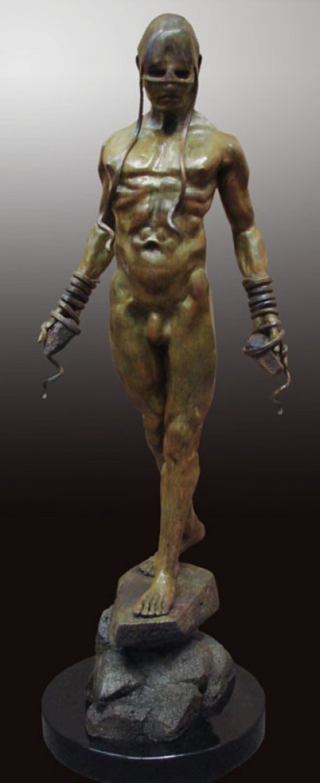 Bound to His Emotion Bronze Sculpture 2012 45 in Sculpture by Larry Renzo Lewis