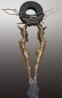 One Thought Conceived Monumental Life Size Bronze Sculpture 2011 94x121 Sculpture - Larry Renzo Lewis