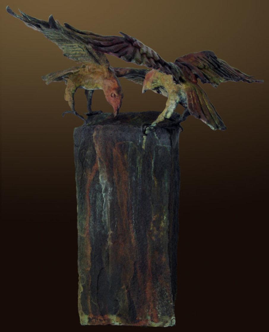 Raven's View I AP Bronze Sculpture 2012 18 in Sculpture by Larry Renzo Lewis