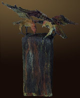 Raven's View I AP Bronze Sculpture 2012 18 in Sculpture by Larry Renzo Lewis - 0