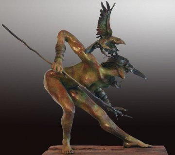 Huntress AP Bronze Sculpture 2010 35 in Sculpture - Larry Renzo Lewis