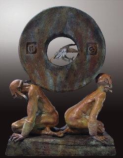 Stone of Relationship Bronze Sculpture 2009 40 in Sculpture - Larry Renzo Lewis