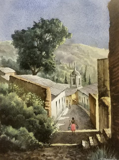 Town in Pueblo  Watercolor 1991 30x22 Watercolor by Ruben Resendiz