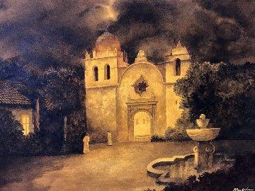 Carmel Mission Watercolor 2007 30x40 Watercolor by Ruben Resendiz