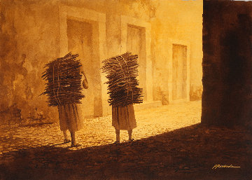 Mujeres Con Leña Watercolor 2006  30x40 Watercolor by Ruben Resendiz