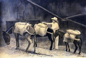El Arriero Watercolor 2005 30x40 Watercolor by Ruben Resendiz