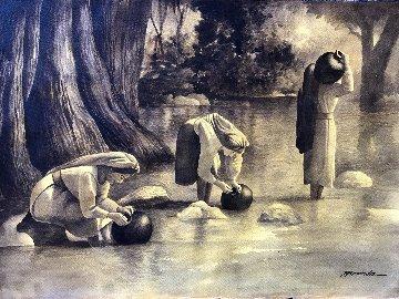 Lavando En El Rio Watercolor 30x40 Watercolor by Ruben Resendiz